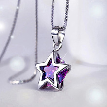 925 Sterling silver necklace round stars Purple Crystal stars Pendant women jewelry female clavicle girlfriend gift