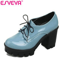 ESVEVA British style women casual shoes square heel lace up pumps round toe simple shoes women pump 3 colors size 34-43
