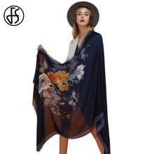 FS Women Shawls Cotton Pashmina Linen Scarf Wraps Thin Satin Floral Retro Ethnic Style 2018 New Long Spring Summer Beach Scarve(China)