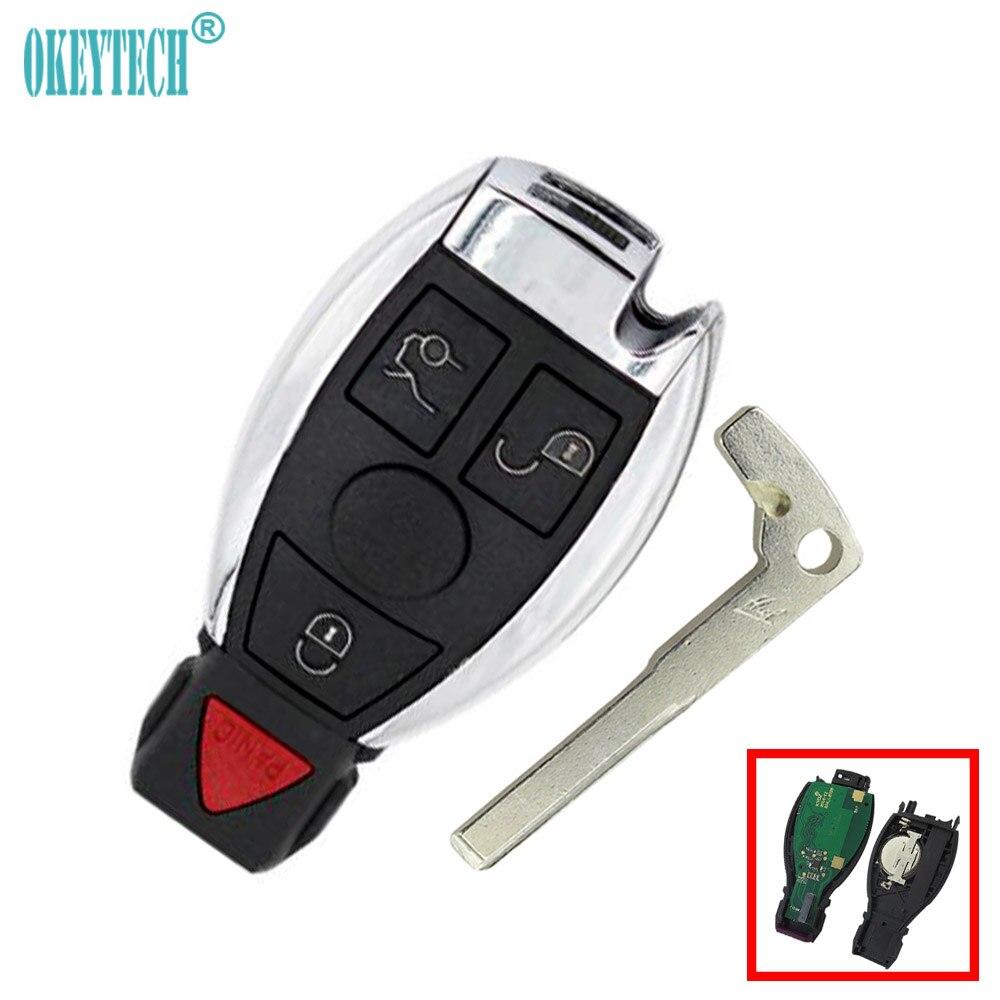 OkeyTech 433Mhz Mercedes Benz 2000 Smart Card Key Auto Remote Control Car Key 3+1 4 Button Insert Blade Free Shipping