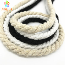 6mm*30m 100% cotton rope 3ply twisted thick 3 colors DIY accessory clothes line garment bag decorative bondage free shipping(China)