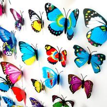 2017 Home Fridage Decoration 12Pcs/Lot Gossip Girl Same Style 3D Butterfly Wall Stickers Colorful Lifelike Butterflies Decors