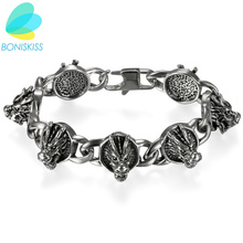 Boniskiss Punk Dragon Charm Bracelets 316L Stainless Steel Bracelet Antique Silver Bangle Jewelry For Men Hallowmas Gifts(China)