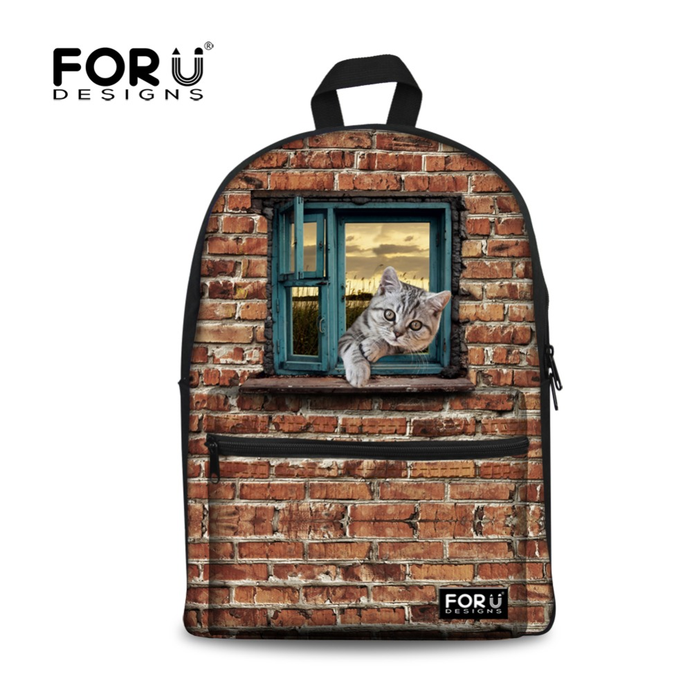 Fashion 3D Animal Women Vintage Back Pack Teenagers Casual Travel Bags Girls Cute Cat Dog Printing Canvas School Backpacks  -  FORUDESIGNS Customized Shoe&Bags Store store