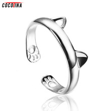 Cute Cat Claws Rings For Women Fashion Female Adjustable Size Ring 925 Sterling Silver Opening Rings Jewelry COCOTINA D01720
