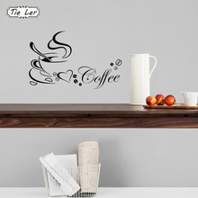 TIE LER Coffee Cup With Heart Vinyl Restaurant Kitchen Removable Wall Stickers DIY Home Decor Wall Art(China)