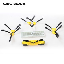 (ForB6009)Spare parts for Robot Vacuum Cleaner, side brush*6pcs+ heap filters*2pcs+v-shaped central brush*1pc