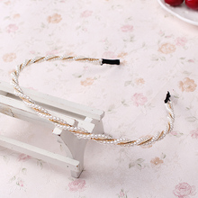 M MISM Fashion Pearl Metal Alloy Hair Bands hair Hoop Elegant Lovely Headband Headwear for Women girls hair Accessories Bow(China)