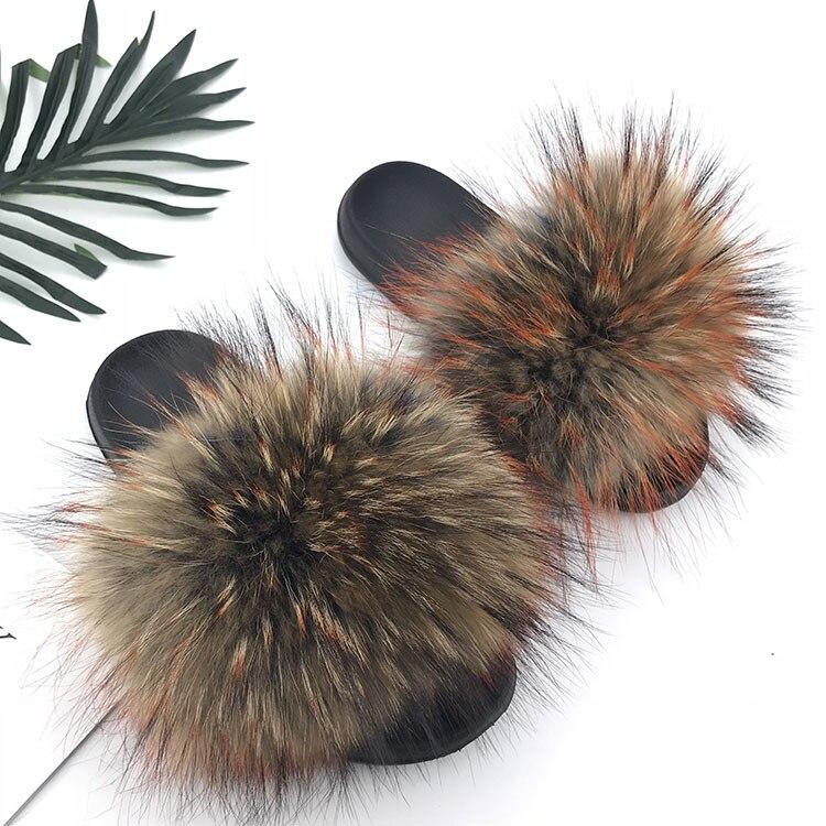 Real Raccoon Fur Slippers Women 2018 Sliders Casual Fox Hair Flat Fluffy Fashion Home Summer Big Size 45 Furry Flip Flops Shoes