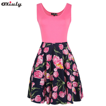 Oxiuly Audrey Hepburn Robe Retro Rockabilly Dress Sleeveless 60s Swing Rose Floral Print Pin up Women Summer 50s Vintage Dresses(China)