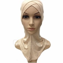 Free Shipping Full Cover Inner Muslim Cotton Hijab Cap Islamic Head Wear Hat Underscarf Colors(China)