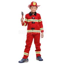Kids Boys Red Firefighter Suit Halloween Party Role Play Christmas Fancy Dress Fireman Hat Costume Uniform Outfit(China)