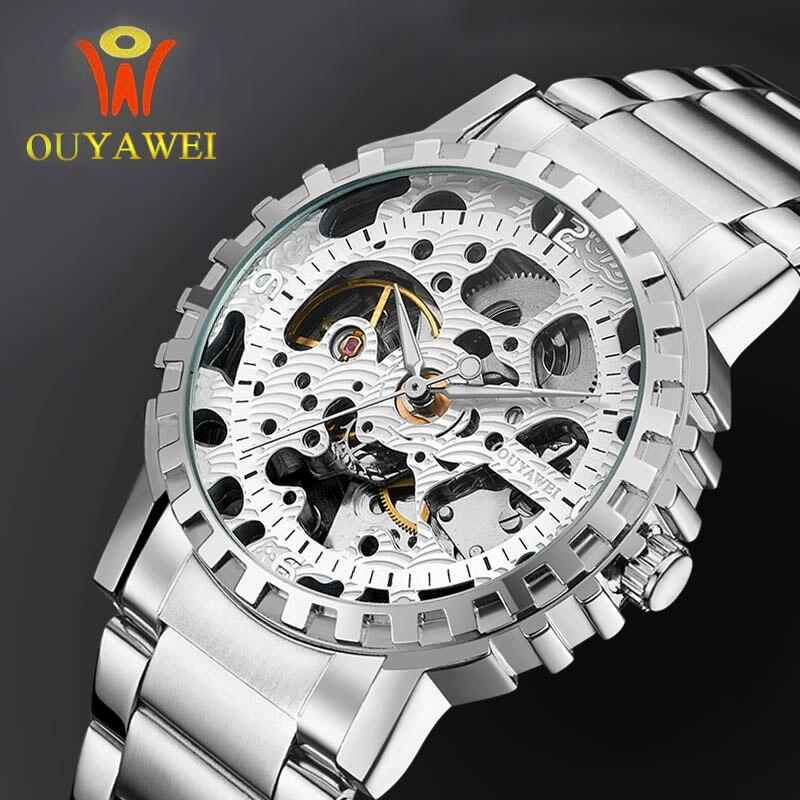 OUYAWEI Luxury Golden Hollow Design Watch Leather Automatic Skeleton Mechanical Watches Men Causal Brand Clock Men Heren Horloge<br><br>Aliexpress