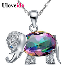 Uloveido Rainbow Elephant Pendant Necklace Chain Animal Necklaces & Pendants Silver Color Cute New Year Gifts For Girls N1154(China)