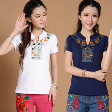 Mori Girls Mexican Style Ethnic Stand Collar Embroidery Top Summer Short Sleeve Design Shirt Big Size t-shirt Top Blusa