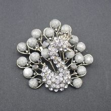 2016 Trendy New Personal Fashion Jewelry Rhinestone Black Pearl Peacock Antique Bronze Pin Brooch, Item NO.: BH7263