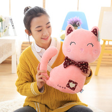 large 50cm cartoon love pink cat plush toy soft doll throw pillow birthday gift b0850(China)