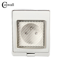 IP55 Report CE Wall Waterproof Outdoor Socket, 16A French Standard Electrical Outlet Grounded, AC 110~250V()