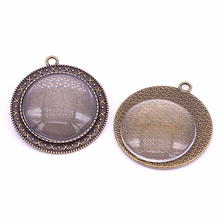 Sweet Bell 5set Antique Bronze Cameo 40*44mm(Fit30mm dia)Pendant Setting Jewelry Blank Pendant Tray+Clear Glass Cabochon A4015-1