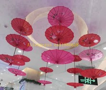 100pcs/lot Colorful hand-painted Flowers wedding silk cloth parasol Chinese umbrella For Wedding party