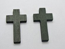 50 Black Wooden Cross Beads Charm 42X24mm Wood Pendants