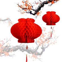 10Pcs 8/12/16 inch Wholesale Blessing Red Paper Lantern Chinese Traditional Handcraft New Year Festival Event Wedding Decoration(China)