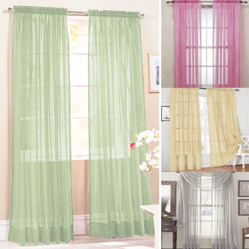 Curtains Door Bead Net Curtain Chiffon Voile Veil For Living Room Bedroom Door Window title=