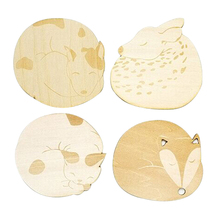 Cat Fox Dog Deer Caved Wooden Cup Coaster Heat Insulated Pad Placemat Tablemat Kitchen Accessories Table Mat posavasos(China)