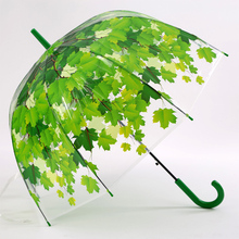 Novelty Items Thicken PVC Transparent Mushroom Green Leaves Umbrellas 3 Fold Van Gogh Famous Women Rain Painting Umbrella(China)