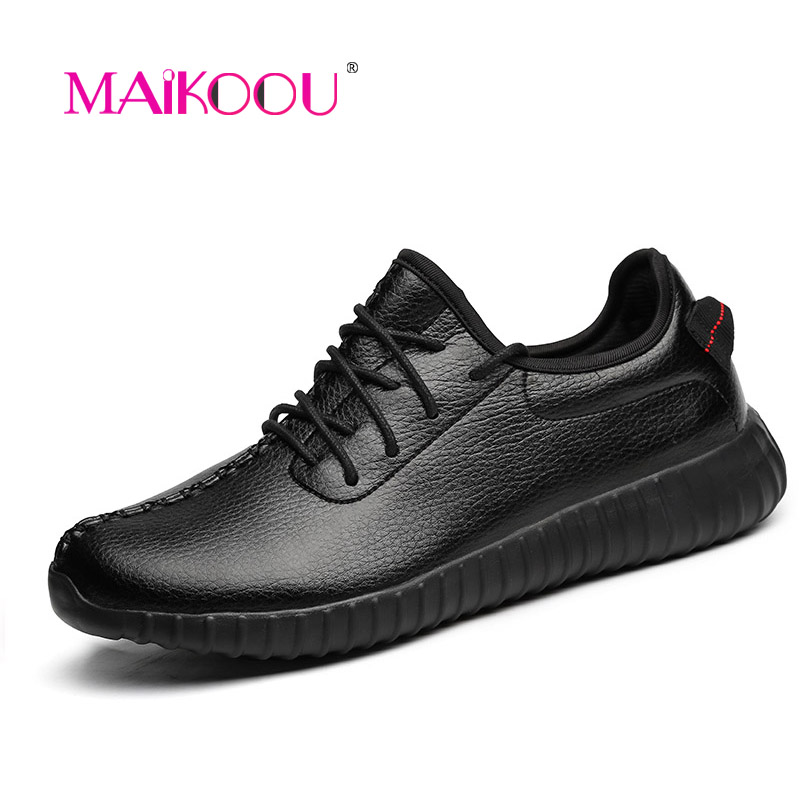 MAIKOOU Fashion Couple casual shoes 2016 Autumn New Plus size PU Leather Lace Casual shoes for Men White Black Pink Red  <br><br>Aliexpress