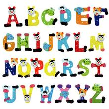 A-Z 26 Letters Alphabet Wood Fridge Magnet Carton Kid Education Toy Memo(China)