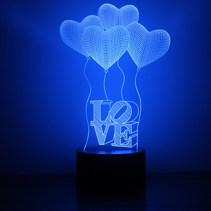 3D USB Novelty Table Lamp Luminaria Visual Led Night Light Mood Lamp LOVE Heart Balloon Sleeping Night Light Lover Creative Gift(China (Mainland))