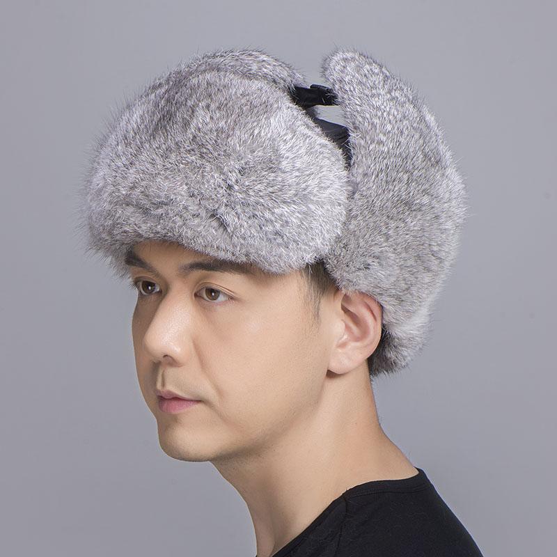 rabbit fur trapper hat grey black 5