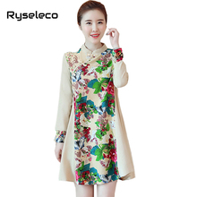 Women Chinese Style Autumn Winter Swing Cotton and Linen Dresses Girls Chic Floral Prints Patchwork Flare Casual Large Vestidos(China)