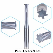 tungsten carbide alloy Single teeth metric thread milling cutter 1pc/P1.0-1.5-D7.9-D8 threading end mill single tooth tools(China)