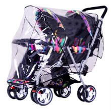 Twins Stroller Rain Cover Foldable Double Pushchair PVC Wind Shield Baby Stroller Accessories Universal Raincoat for Wheelchair(China)