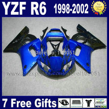 Custom Road moto fairing set for YAMAHA YZFR6 1998 1999 YZF600 02 00 99 98 blue black YZF R6  2000 2001 2002 fairings 7 gifts