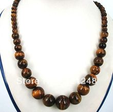 Free shopping New 2014 DIY New 6-14mm Tiger's Eye Gem Beads Pendant Necklace 18'' GE1230