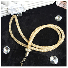 1 x Artificial Crystal Neck Necklace Strap Lanyard U Disk ID Work Card Mobile Phone Straps Keychain Phone Hanging Rope P15