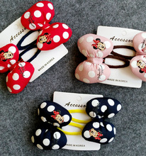 Korean High Quality Hair Accessories Mickey Minnie Bow Knot Hair Clips  Kids Hairgrips Polka Dot Hairpins Headdress Set