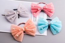 20pcs Fashion Cute Big Gauze Hair Bow Elastic Hair Bands Solid Kawaii Pearls Lace Bowknot Girls Pony Tail Holder Rubber Band
