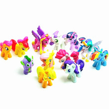 12 Pcs/Lot Cute Little Horse Sets Toys For Children Gift,Cartoon Children Action Figure  Doll toys