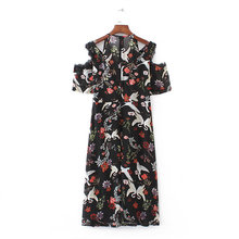 2017 new spring and summer and the wind are all-match midi Swan slim female dress Strapless Dragonfly stamp