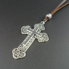 2014 new handmade leather vintage leather men's pendants cross necklaces men jewelry for women