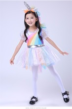 Unique Girls' Deluxe Rainbow Unicorn Costume Great For Halloween And Everyday Dress-Up Princess dress performance clothing chil(China)