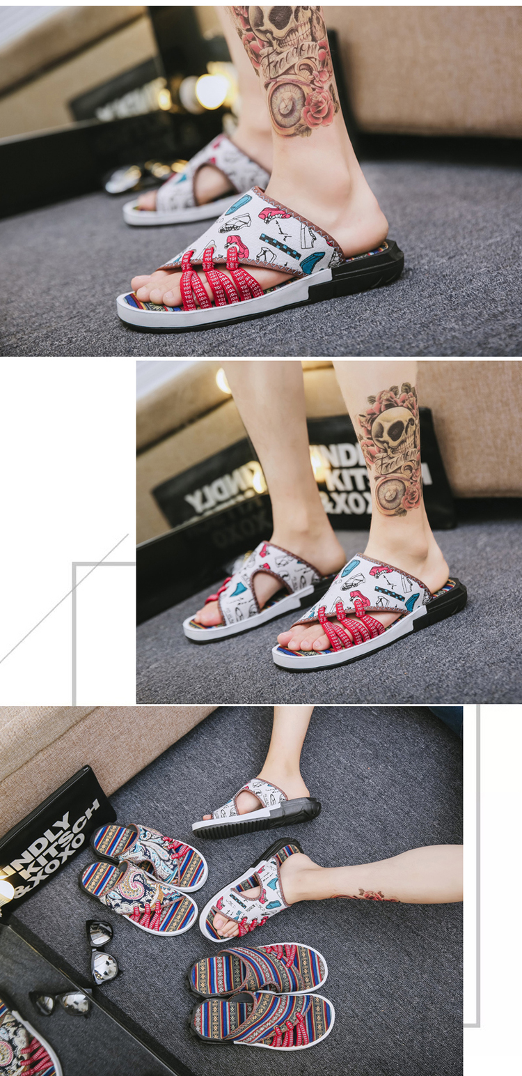 Fashion National style Men Slippers Casual Male Cotton Fabric Summer Outdoor Beach Shoes Non-slip Indoor Floor Leisure ShoesZ172 14 Online shopping Bangladesh