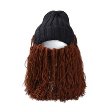 Funny Big Mustache Beanies Halloween Party Caps Christmas Warm Winter Thick New Year Knitted Wig Beard Hats For Xmas Gifts(China)