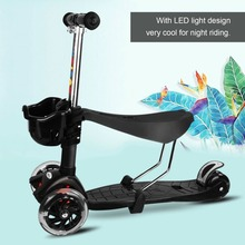 LED Light Wheels Stroller Scooter Multifunctional 4 PU Wheels Children Kids Scooter Adjustable Height With Basket Well Sell