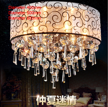 Modern K9 Crystal Ceiling Lights Cloth Lampshade Decoration Crystal Ceiling Fixtures Lamp luminarias para sala teto abajur E14(China)