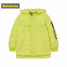 balabala baby boys winter jackets Fashion Children's solid Clothes warm Down Coats Jacket 2017 Winter Kids Hooded Clothing(China)